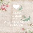 KEEP CALM BECAUSE ALL YOU NEED IS LOVE - Personalised Poster large