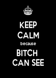 KEEP CALM because BITCH  CAN SEE - Personalised Poster large