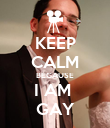 KEEP CALM BECAUSE I AM  GAY - Personalised Poster large