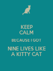 KEEP CALM BECAUSE I GOT NINE LIVES LIKE A KITTY CAT - Personalised Poster large