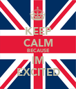 KEEP CALM BECAUSE IM EXCITED - Personalised Poster large