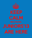 KEEP CALM BECAUSE JUNIORS'13 ARE HERE - Personalised Poster large