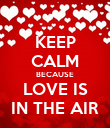 KEEP CALM BECAUSE LOVE IS IN THE AIR - Personalised Poster large
