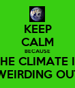 KEEP CALM BECAUSE THE CLIMATE IS WEIRDING OUT - Personalised Poster small