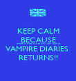 KEEP CALM BECAUSE THERE IS ONLY ONE DAY LEFT UNTIL VAMPIRE DIARIES  RETURNS!! - Personalised Poster large