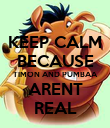 KEEP CALM BECAUSE TIMON AND PUMBAA ARENT REAL - Personalised Poster large