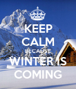 KEEP CALM BECAUSE WINTER IS COMING - Personalised Poster large