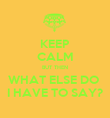 KEEP CALM BUT THEN WHAT ELSE DO  I HAVE TO SAY? - Personalised Poster large