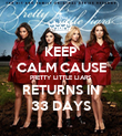 KEEP CALM CAUSE PRETTY LITTLE LIARS RETURNS IN 33 DAYS - Personalised Poster large