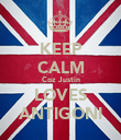 KEEP CALM Coz Justin LOVES ANTIGONI - Personalised Large Wall Decal