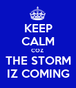 KEEP CALM COZ  THE STORM IZ COMING - Personalised Poster large