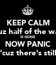 KEEP CALM 'cuz half of the way IS GONE NOW PANIC 'cuz there's still - Personalised Poster large