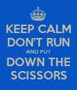 KEEP CALM DON'T RUN AND PUT DOWN THE SCISSORS - Personalised Poster large