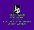KEEP CALM FOR NOW. DON`T WORRY, I`LL DESTROY THEM A BIT LATER - Personalised Poster large