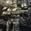 KEEP CALM HE  WONT  BITE - Personalised Poster large