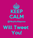 KEEP CALM @HeyitsAlayoxx Will Tweet  You! - Personalised Poster small