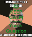 KEEP CALM I mustache You a  Question - Personalised Poster large