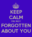 KEEP CALM I'VE NOT FORGOTTEN ABOUT YOU - Personalised Poster large