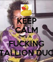 KEEP CALM ITS A FUCKING STALLION DUCK - Personalised Poster large