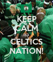 KEEP CALM ITS CELTICS NATION! - Personalised Poster large