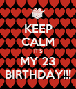 KEEP CALM IT'S MY 23 BIRTHDAY!!! - Personalised Poster large