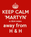 KEEP CALM 'MARTYN' is 854 miles  away from  H & H - Personalised Poster large