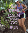 KEEP CALM ....NEVER !!!!  GO RUN - Personalised Poster large