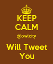 KEEP CALM @owlcity Will Tweet You - Personalised Poster large