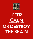 KEEP CALM REMOVE THE HEAD OR DESTROY THE BRAIN - Personalised Poster large
