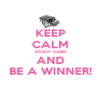 KEEP CALM STUDY HARD AND BE A WINNER! - Personalised Poster large