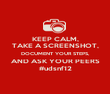 KEEP CALM, TAKE A SCREENSHOT, DOCUMENT YOUR STEPS, AND ASK YOUR PEERS #udsnf12 - Personalised Poster large