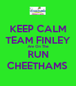 KEEP CALM TEAM FINLEY Are On The RUN CHEETHAMS  - Personalised Poster large