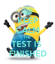 KEEP CALM THE  TEST IS  FINISHED - Personalised Poster large