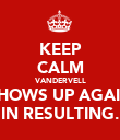 KEEP CALM VANDERVELL SHOWS UP AGAIN IN RESULTING. - Personalised Poster small