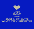 KEEP CALM WE'RE JUST NOT QUITE WHAT YOU EXPECTED - Personalised Poster large