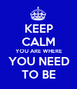 KEEP CALM YOU ARE WHERE YOU NEED TO BE - Personalised Poster large