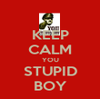 KEEP CALM YOU STUPID BOY - Personalised Poster large
