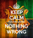 KEEP CALM YOU'VE DONE NOTHING WRONG - Personalised Poster large