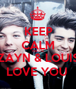 KEEP CALM YVETTE ZAYN & LOUIS LOVE YOU  - Personalised Poster large