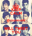 KEEP CALM @zaynmalik WILL TWEET YOU - Personalised Poster large