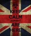 KEEP CALM ZOMBIES ARE HERE - Personalised Poster large