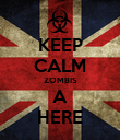 KEEP CALM ZOMBIS A HERE - Personalised Poster large