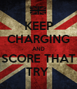 KEEP CHARGING AND SCORE THAT TRY  - Personalised Poster small