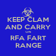 KEEP CLAM AND CARRY ON RFA FART RANGE - Personalised Poster large