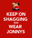KEEP ON SHAGGING  AND WEAR  JONNYS - Personalised Poster large