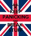 KEEP PANICKING AND BREAK  STUFF - Personalised Poster large