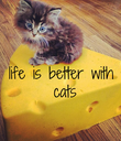 life is better  with cats - Personalised Poster large