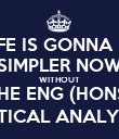 LIFE IS GONNA BE SIMPLER NOW WITHOUT THE ENG (HONS) CRITICAL ANALYSES - Personalised Poster large