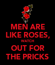 MEN ARE LIKE ROSES, WATCH OUT FOR THE PRICKS - Personalised Poster large