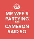 MR WEE'S PARTYING COS CAMERON SAID SO - Personalised Poster large